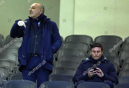 Fc Inter Ceo Giuseppe Marotta (L) and Fc Inter vice president Javier Zanetti attend the Italy Cup soccer match between Fc Inter and Benevento Calcio at Giuseppe Meazza stadium in Milan, Italy, 13 January 2019.