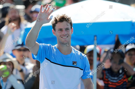 Diego Schwartzman of Argentina waves to the crowd after winning his men's singles match against Rudolf Molleker of Germany on day one of the Australian Open Grand Slam tennis tournament in Melbourne, Australia, 14 January 2019.