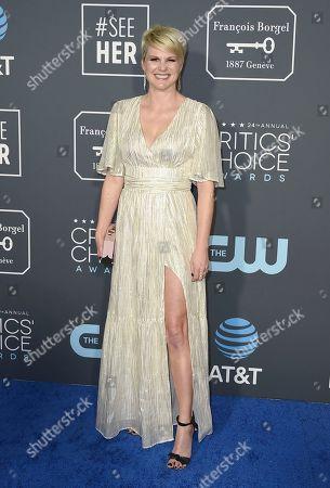 Jennifer Robertson arrives at the 24th annual Critics' Choice Awards, at the Barker Hangar in Santa Monica, Calif