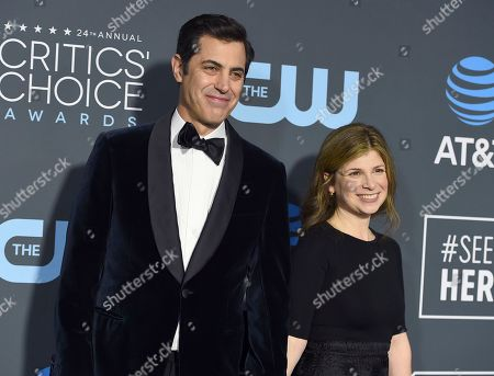 Stock Image of Josh Singer, Laura Dave. Josh Singer, left, and Laura Dave arrive at the 24th annual Critics' Choice Awards, at the Barker Hangar in Santa Monica, Calif