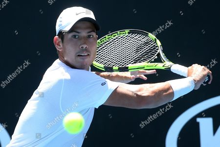 Jason Kubler of Australia in action against Thomas Fabbiano of Italy during their men's singles match during day one of the Australian Open Grand Slam tennis tournament in Melbourne, Australia, 14 January 2019.