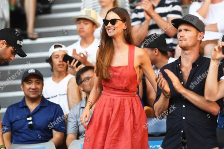 Ester Satorova (C), wife of Czech Republic's Tomas Berdych, attends the men's singles first round match between Kyle Edmund of Britain and Berdych at the Australian Open tennis tournament in Melbourne, Australia, 14 January 2019.
