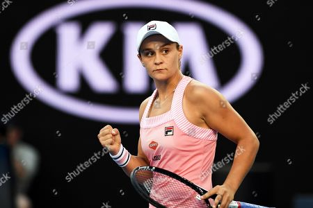 Ashleigh Barty of Australia celebrates after winning her women's singles first round match against Luksika Kumkhum of Thailand at the Australian Open tennis tournament in Melbourne, Australia, 14 January 2019.