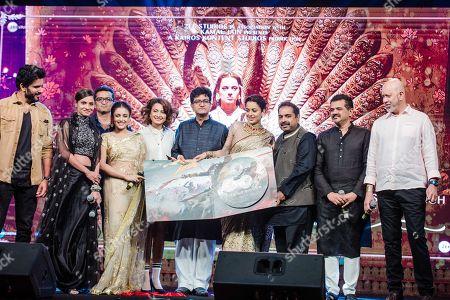 Stock Image of Kangana Ranaut, Ankita Lokhande, Tahir Shabbir, Mishti Chakraborty and Unnati Davara, musicians Shankar Mahadevan, Ehsaan Noorani, and Loy Mendonsa, and lyricist-writer Prasoon Joshi