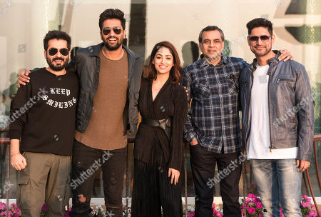 Bollywood director Aditya Dhar with actors Vicky Kaushal, Yami Gautam, Paresh Rawal and Mohit Rana
