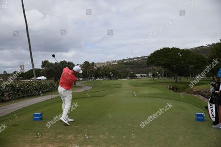Russell Henley of the US hits a drive on the 12th hole during the final round of the 2019 Sony Open in Hawaii golf tournament at the Waialae Country Club in Honolulu, Hawaii, USA, 13 January 2019.