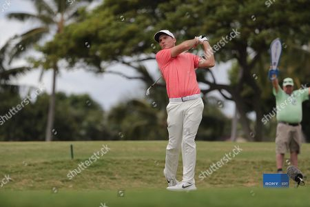 Russell Henley of the US hits his tee shot on the 11th hole during the final round of the 2019 Sony Open in Hawaii golf tournament at the Waialae Country Club in Honolulu, Hawaii, USA, 13 January 2019.