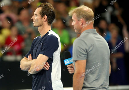 Stock Photo of Andy Murray of Great Britain stands with Mark Petchey