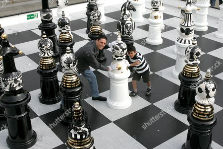 Editorial image of 'The Tournament', a chess board installation by Jaime Hayon, Trafalgar Square, London, Britain - 18 Sep 2009