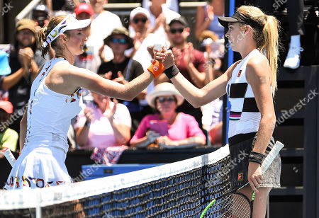 Katie Boulter (right) celebrating victory after her Ladies Singles first round match against Ekaterina Makarova
