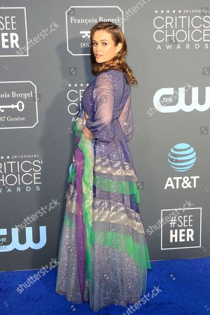 Stock Image of Dina Shihabi arriving for the 24th Annual Critics' Choice Awards at Barker Hangar in Santa Monica, California, USA, 13 January 2019. The Critics' Choice Awards honors the finest in cinematic and television achievement.