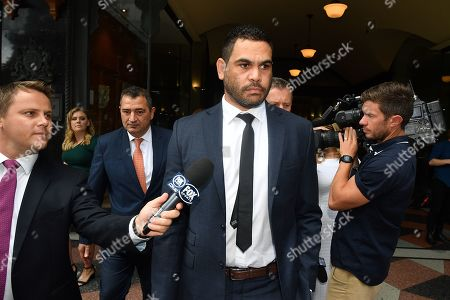 NRL (National Rugby League) player Greg Inglis leaves the Downing Centre Local Court in Sydney, New South Wales, Australia, 14 January 2019. Inglis appeared at court on the day for sentencing, where he was given an 18-month good behaviour bond over a drink-driving charge in October 2018.
