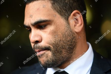 NRL (National Rugby League) player Greg Inglis speaks to the media as he leaves the Downing Centre Local Court in Sydney, New South Wales, Australia, 14 January 2019. Inglis appeared at court on the day for sentencing, where he was given an 18-month good behaviour bond over a drink-driving charge in October 2018.