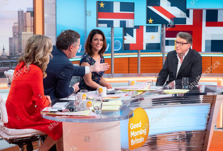 Charlotte Hawkins, Piers Morgan and Susanna Reid with Lord Peter Mandelson