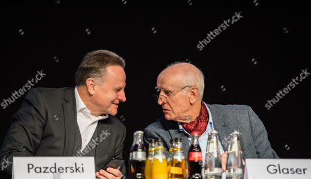 Alternative for Germany (AfD) Party deputy chairman Georg Pazderski (L) and Alternative for Germany (AfD) party deputy co-chairman Albrecht Glaser (R) during the European election convention (Europawahlversammlung) of the AfD in Riesa, Germany, 14 January 2019. The AfD gathers from 11 to 14 January 2019 in Riesa, for the election of their candidates for the European elections. European elections take place from 23 to 26 May 2019.