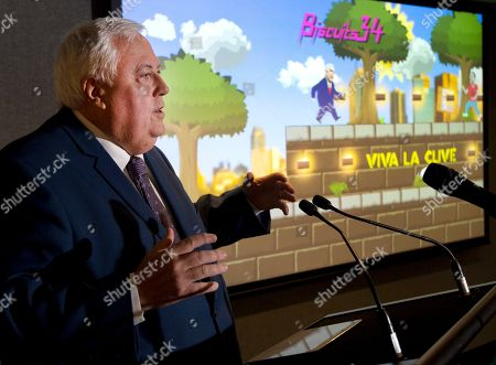 United Australia Party (UAP) leader Clive Palmer is seen at the launch of his Australian Politics themed App game named 'Clive Palmer: Humble Meme Merchant,' in Sydney, Australia, 14 January 2019.