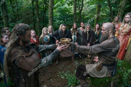 Adam Copeland as Kjetill Flatnose, Kris Holden-Ried as Eyvind, Gustaf Skarsgard as Floki and Leah McNamara as Aud