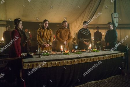 Stock Picture of Jennie Jacques as Judith, Ferdia Walsh-Peelo as Alfred The Great, Moe Dunford as Aethelwulf, Darren Cahill as Aethelred and Jonathan Rhys Meyers as Bishop Heahmund