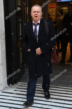 Stock Photo of British journalist Ian Hislop leaves the BBC Wogan House in London, Britain, 14 January 2019. Zoe Ball is the first woman to host a show in the breakfast slot on the BBC radio station replacing Chris Evans as new radio presenter.