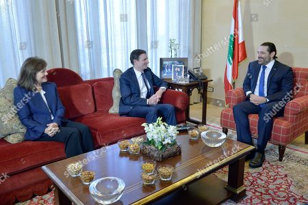 Stock Picture of Lebanese Prime Minister-designate Saad Hariri (R) meets with David Hale (L), US Under Secretary of State for Political Affairs of the Department of State, and and US Ambassador to Lebanon Elizabeth Richard (L), at Hariri's residence in downtown Beirut, Lebanon, 14 January 2019. Hale arrived in Beirut 12 January for three days to meet with Lebanese officials.
