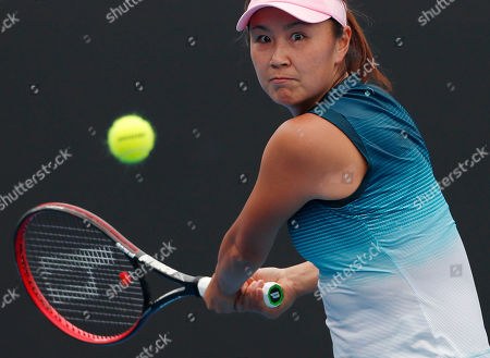 Shuai Peng of China in action during her round one women's singles match against Eugenie Bouchard of Canada at the Australian Open Grand Slam tennis tournament in Melbourne, Australia, 15 January 2019.