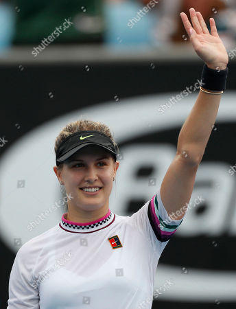 Eugenie Bouchard of Canada celebrates winning her round one women's singles match against  Shuai Peng of China at the Australian Open Grand Slam tennis tournament in Melbourne, Australia, 15 January 2019.