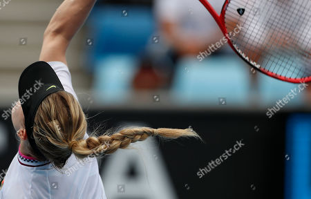 Eugenie Bouchard of Canada in action during her round one women's singles match against  Shuai Peng of China at the Australian Open Grand Slam tennis tournament in Melbourne, Australia, 15 January 2019.
