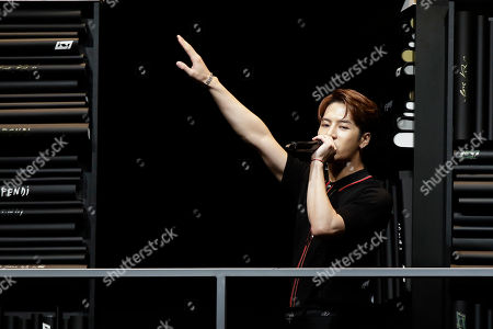 Singer Jackson Wang performs at the end of the Fendi men's Fall-Winter 2019-20 collection, that was presented in Milan, Italy, Monday, Jan.14, 2019