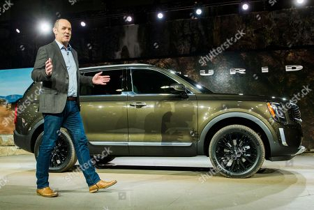 Kia Motors America COO Michael Cole introduces he new Kia Telluride SUV at the North American International Auto Show at Cobo Center in Detroit, Michigan, USA, 14 January 2019. The show offers media previews of vehicles and technologies before opening to the public on 19 January.
