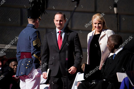 Alan Wilson, Jennifer Wilson. South Carolina Attorney General Alan Wilson, left, and his wife, Jennifer Wilson, take their seats during inauguration ceremonies for Governor Henry McMaster at the South Carolina Statehouse, in Columbia, S.C