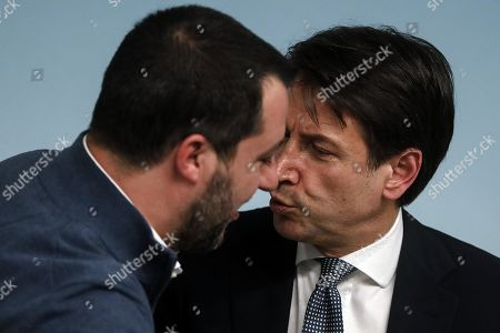 Italian Premier Giuseppe Conte (R) and the Interior Minister Matteo Salvini during the press conference about the arrest of the Italian fugitive Cesare Battisti in Rome, Italy, 14 January 2019. Cesare Battisti, 64, a former member of the far-left terrorist group Armed Proletarians for Communism (PAC), was arrested in Bolivia after 38-years as a fugitive of the Italian justice. He is set to serve a life sentence for four murders committed in Italy's 'years of lead' of political violence in the 1970s and 1980s, media reported.
