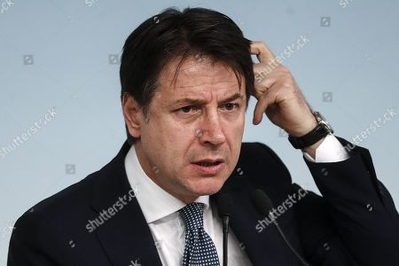 Italian premier Giuseppe Conte delivers a speech during the press conference about the arrest of the Italian fugitive Cesare Battisti in Rome, Italy, 14 January 2019. Cesare Battisti, 64, a former member of the far-left terrorist group Armed Proletarians for Communism (PAC), was arrested in Bolivia after 38-years as a fugitive of the Italian justice. He is set to serve a life sentence for four murders committed in Italy's 'years of lead' of political violence in the 1970s and 1980s, media reported.