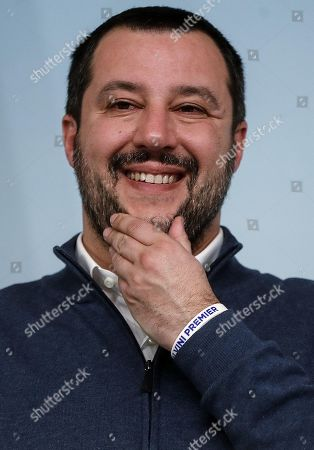 Interior Minister Matteo Salvini gestures during the press conference about the arrest of the Italian fugitive Cesare Battisti in Rome, Italy, 14 January 2019. Cesare Battisti, 64, a former member of the far-left terrorist group Armed Proletarians for Communism (PAC), was arrested in Bolivia after 38-years as a fugitive of the Italian justice. He is set to serve a life sentence for four murders committed in Italy's 'years of lead' of political violence in the 1970s and 1980s, media reported.