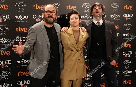 Stock Image of Directors of the Spanish movie 'Superlopez' Borja Cobeaga (L) and Diego San Jose (R), both nominated to the 'Best adapted script' and Laura Pedro (C), nominated for 'Best visual effects' attend the Goya awards nominees party at the Royal Theater in Madrid, Spain, 14 January 2019.
