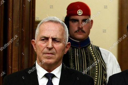 New Greek Defense Minister Admiral Evangelos Apostolakis during his swearing-in ceremony at the Presidential Palace in Athens, Greece, 14 January 2019. Following the resignation of Panos Kammenos as defense minister, Prime Minister Alexis Tsipras on Sunday announced that the leadership of Greece's defense ministry will go to the current commander of the armed forces, Hellenic National defense General Staff chief Admiral Evangelos Apostolakis.