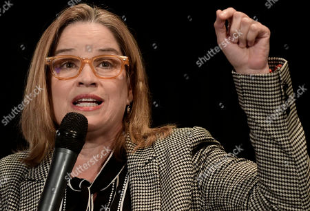 San Juan Mayor Carmen Yulin Cruz Soto speaks on a panel about Hurricane Maria at the annual Latino Political Summit in San Juan, Puerto Rico