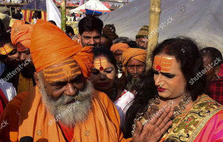 Kinner Akhara Mahamandaleshwar Laxmi Narayan Tripathi along with Juna Akhara Chief Hari Giri ji Maharaj adress media afer a meeting at Kumbh Region in Allahabad on 14-01-2019. (Photo by Prabhat Kumar Verma/Pacific Press) (Photo by Prabhat Kumar Verma/Pacific Press)//PACIFICPRESS_xyz00001664_000007/Credit:Prabhat Kumar Verma/SIPA/1901141749