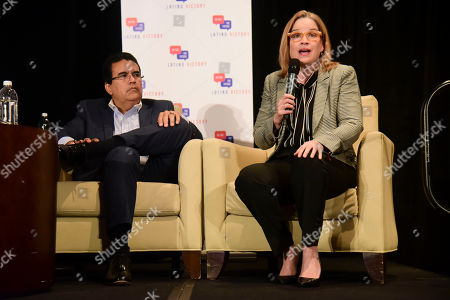 Mayor Carmen Yulin Cruz Soto from San Juan speaks on a panel about Hurricane Maria at the annual Latino Political Summit in San Juan, Puerto Rico, . Mayor Javier Jimenez from San Sebastian sits left