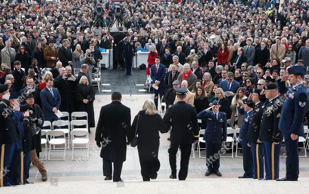 Stock Image of Former Oklahoma Governor Mary Fallin, center, arrives for the inauguraiton ceremonies of Oklahoma Governor Kevit Stitt in Oklahoma City