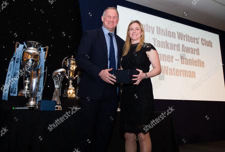 Rugby Union Writers' Club Tankard Winner 2018 - Danielle Waterman with Richard Hill (L)