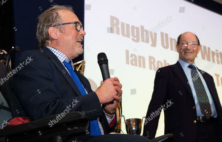 Stock Photo of Ed Marriage (out of shot) & Alastair Hignell  discuss Ian Robertson 's (Robbo) retirement from BBC Rugby commentary