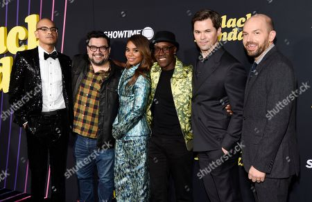 "Yassir Lester, Horatio Sanz, Regina Hall, Don Cheadle, Andrew Rannells, Paul Scheer. From left, Yassir Lester, Horatio Sanz, Regina Hall, Don Cheadle, Andrew Rannells and Paul Scheer, cast members in the Showtime television series ""Black Monday,"" pose together at the premiere of the show, in Los Angeles"