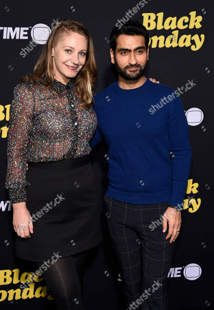 """Kumail Nanjiani, Emily Gordon. Kumail Nanjiani and his wife Emily Gordon pose together at the premiere of the Showtime television series """"Black Monday,"""", in Los Angeles"""