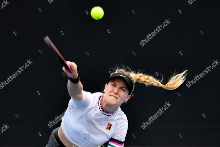Eugenie Bouchard in action in a first round match against Shuai Peng on day two of the Australian Open Grand Slam tennis tournament in Melbourne, Australia. Majchrzak retired in the fifth set. Bouchard won 62 61