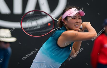 Stock Picture of Shuai Peng of China in action during her first-round match at the 2019 Australian Open Grand Slam tennis tournament