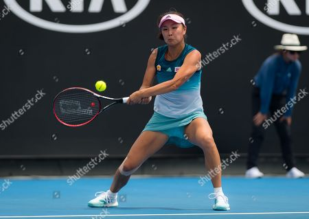Stock Image of Shuai Peng of China in action during her first-round match at the 2019 Australian Open Grand Slam tennis tournament