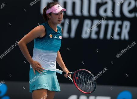 Shuai Peng of China in action during her first-round match at the 2019 Australian Open Grand Slam tennis tournament