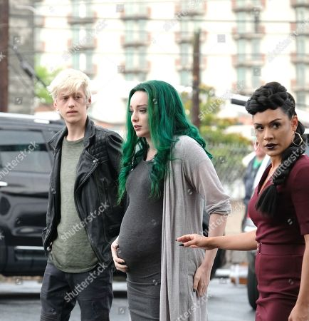 Percy Hynes White as Andy Strucker, Emma Dumont as Lorna Dane/Polaris and Grace Gealey as Reeva Payge