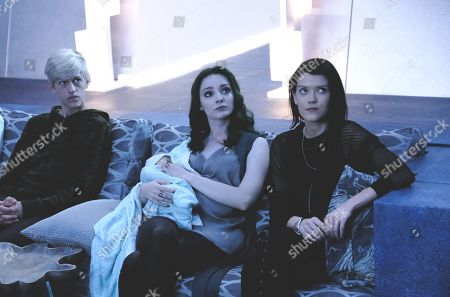 Percy Hynes White as Andy Strucker, Emma Dumont as Lorna Dane/Polaris and Hayley Lovitt as Sage