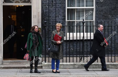 (L-R) British Leader of the House of Lords, Lord Privy Seal, Baroness Evans of Bowes Park, British Leader of the House of Commons, Lord President of the Council, Andrea Leadsom and British Secretary of State for International Trade and President of the Board of Trade, Liam Fox depart Downing Street following a cabinet meeting in London, Britain, 15 January 2019. Parliamentarians are voting on the postponed Brexit EU Withdrawal Agreement, commonly known as The Meaningful Vote, deciding on Britain's future relationship with the European Union.